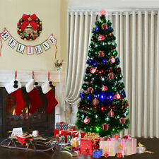 7Ft Fiber Optic Artificial Christmas Tree w/275 Multi-color LED Lights and Stand
