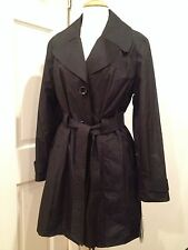 London Fog Belted Raincoat Jacket Coat Water Resistant Trench Black L NWT