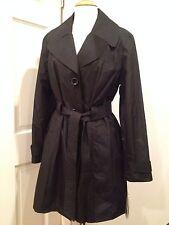 London Fog elegant Belted Raincoat Jacket Coat Water Resistant Black L NWT
