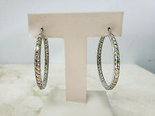 Tacori Sterling Silver Canary Yellow and White Inside out Hoop Earrings QVC $200