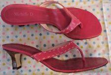 "MICHELLE D - ""CHANNEL"" Slip-On Heels PINK SANDALS Size 8.5 M - EXCELLENT Cond!"