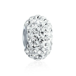 Solid Color Pave Crystal Spacer Bead Charm For Women Teen Fits European Charm
