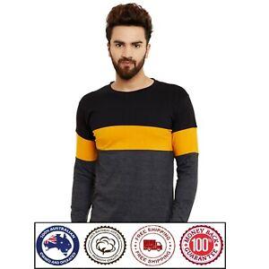Round Neck Long Sleeve Cotton T-Shirt - Yellow Stripe