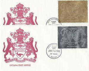 Guyana - Jun 16, 1992 Set of 2 Foil Stamp Covers - Butterflies
