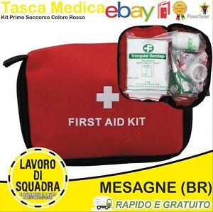 Tasca MEDICA Kit Primo Soccorso COMPLETA Esercito Molle Militaria Militare Rosso