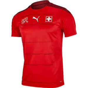 NW $90 Puma 21/22 Suisse SFV Switzerland Home Soccer Jersey Red 756476-01 Sz S