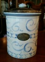 Vintage Crock Sugar Canister with Wood Lid, Porcelain Knob, Bronze Label