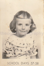 1950's SCHOOL GIRL Found Photo bw FREE SHIPPING Original Portrait VINTAGE 712 23
