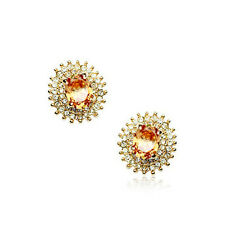 18K ROSE GOLD PLATED GENUINE TOPAZ CZ & AUSTRIAN CRYSTAL STUD OVAL EARRINGS