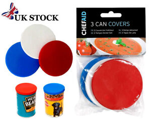 x3 Tin Lids Can Cover Baked Beans Dog & Cat Food etc Plastic For Standard Tins
