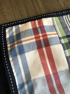 Pottery Barn Kids PBK Madras Plaid Lined Blackout Curtain Panel 44 X 86 Navy Red