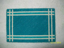 "Doll House Handmade Needlepoint Turquoise Rug w/ White Striped Border - 4"" x 6"""