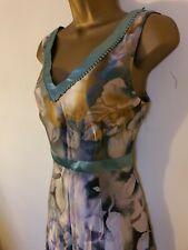 Per Una M&S Marks And Spencer Green Knee Length V Neck Dress Floral Satin 12R