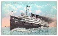 Steamer CITY OF CLEVELAND, D&C Line, Detroit, MI Postcard