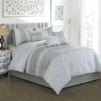 7 Piece Caron Embossed and Pleated Comforter Set Bed-In-A-Bag (Queen, Gray)