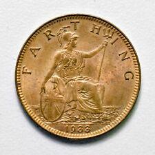 GB GEORGE V BRONZE FARTHING 1933 ++ HIGH GRADE - MS RD / UNC!! ++ [967-35]