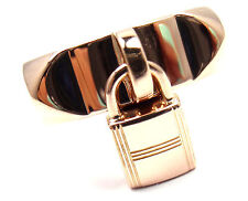 Authentic! Hermes 18k Rose Gold Collier De Chien Lock Band Ring Size 49 US 4 3/4