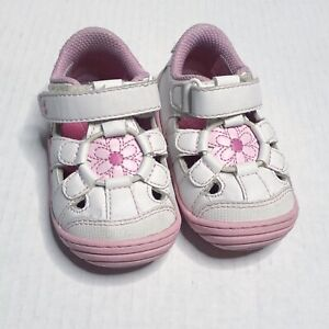 Stride Rite Surprize Alexia Girls Shoes White Pink Floral Size 4 Hook & Loop