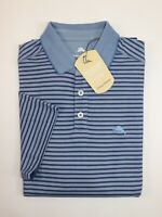 NWT $89 TOMMY BAHAMA Size XL Men's S/S Blue Striped EASY CARE Wicking Polo Shirt