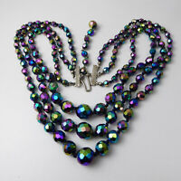 Vintage C1950s Triple Strand Carnival Glass Necklace
