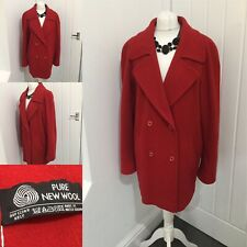 Red Pure New Wool Coat SZ 16 Slouchy Oversized Warm Winter Button Front