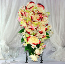 "1x 8"" Red & Cream Rose Orchid Teardrop Bridal Bouquet Wedding Silk Flowers"