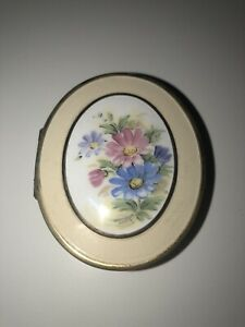 Vintage Bliss Bros Yellow Floral Enamel Compact