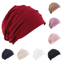 Women Indian Stretchy Cotton Chemo Pleated Turban Hat Head Wrap Hijab Cap NEW