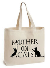 Mother of Cats Cotton Tote school book Bag ladies college shoulder GOT handbag