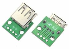 2 x USB Type A Female Socket Breakout Board 2.54mm Pitch Adapter Connector DIP