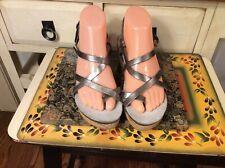 Cordani Calzature Womens Cork Wedges Strappy Sandals US 8 M / EU 38 Silver