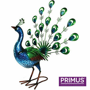 Stunning Metal Hand Painted Vibrant Fan Tail Peacock Garden Patio Ornament PQ301