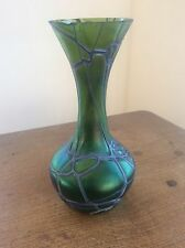 Art nouveau Threaded Glass Vase Pallme Koenig Kralik Iridescent Jugendstil c1900