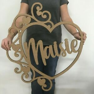 Personalised Wooden Name Heart Hoop Sign Wall  Plaque Wood  MDF Nursery Decor