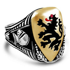 Tudor lion shield ring sterling silver