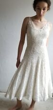 Vintage Late 1940-50s Ivory Lace Side Zipper Wedding Dress Party dress