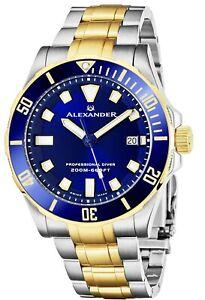 Alexander Men's Swiss Made Quartz Divers Slim Profile Stainless Steel Link Watch