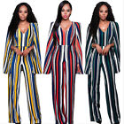 Elegant Women Sexy Striped V Neck High Waist Evening Party Casual Long Jumpsuits