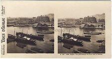 Naples Le Port Panorama Napoli Italie Italia Stéréo Vintage argentique ca 1910