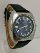 Vtg 1970s Avia Swissonic Watch ESA 9154 Stainless Steel Blue Dial Date Swiss