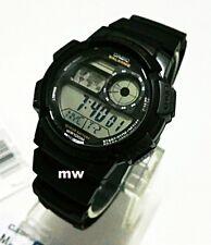 Casio AE1000W-1A Rubber Digital World Time Man Teens 100M Sports Alarm Watch New