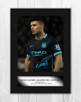 Sergio Aguero A4 signed photograph picture poster. Choice of frame.