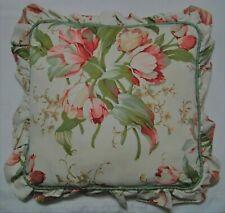 """Waverlygarden Room Garden Lane Ruffled Pillow 16"""" Sq. Moss Green Reverse"""