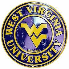 """West Virginia University Mountaineers Embossed Metal 12"""" Circle Sign"""