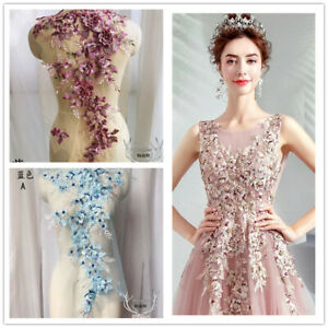 3D Lace Flower Embroidery Bridal Applique Beaded Tulle DIY Wedding Bride Dress
