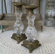 New Vintage French Shabby Chic Clear Glass GOLD Fluted Candlestick Candleholder