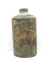 Antique King Of The World Watertown NY Leather Oil Polish Cone Top Can V.Cool!