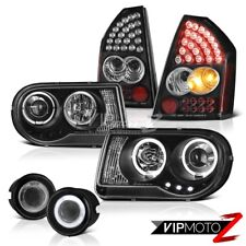 Black Halo LED Headlights Tail Lights Projector Foglamp 05-07 Chrysler 300C 5.7L