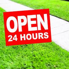 Open 24 Hours Plastic Indoor Outdoor Coroplast Yard Sign