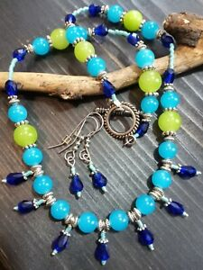 *CLEARANCE*UNIQUE COBALT CRYSTAL/BLUE/GREEN GLASS/SILVER/NECKLACE/EARRING SET